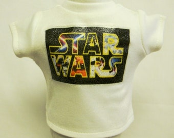 Star Wars Theme (2) Silver Glitter Transfer T-Shirt For 16 or 18 Inch Dolls Like The American Girl Or Bitty Baby