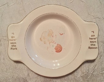 "RARE Homer Laughlin 1940s ""My Own Plate"" Child's Plate, made for International Deepsilver"