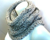 Gray Winter Cowl, Knit Neck Warmer, Gray Wool Snood, Extra Long Cowl, Chunky Knits, Circle Scarf, Handmade in the USA, Ready to Ship