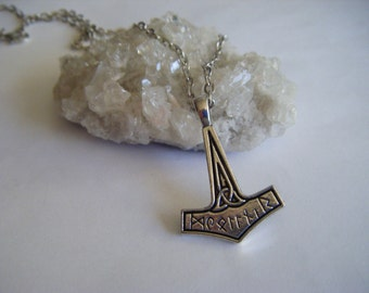 VIKINGS History Channel Thors Hammer Necklace Ragnar Lagertha Floki Bjorn TV Series Crow Ship Dragon Runes