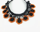 Crochet Necklace Orange and Black Oya Flowers Crochet Necklace Crocheted Jewelry Turkish Oya Beaded Necklace Gift For Her Statement Necklace