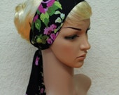 Black & floral head scarf, headband, headscarf, hair covering, self tie hair band 124 x 8 cm