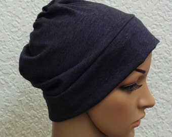 Chemo cap, women's chemo hat, hair loss head wear, chemo beanie, made from charcoal grey viscose jersey blend, only Large size left