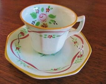 Tea Cup Set, Adams Calyx Ware, Mint Green, Adams Company,  Made in England