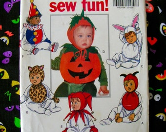 Infant Halloween Costume Bibs Collars and Caps Bunny Clown Devil Pumpkin Cat Jester Baby OSZ Butterick 5594 cut used complete sewing pattern