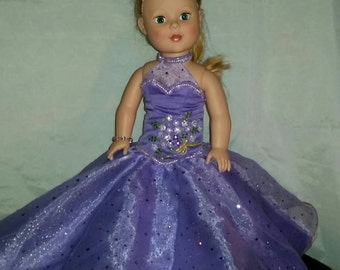 Lovely Lavender Formal Ball Gown for American Girl Doll with Wrap and slippers