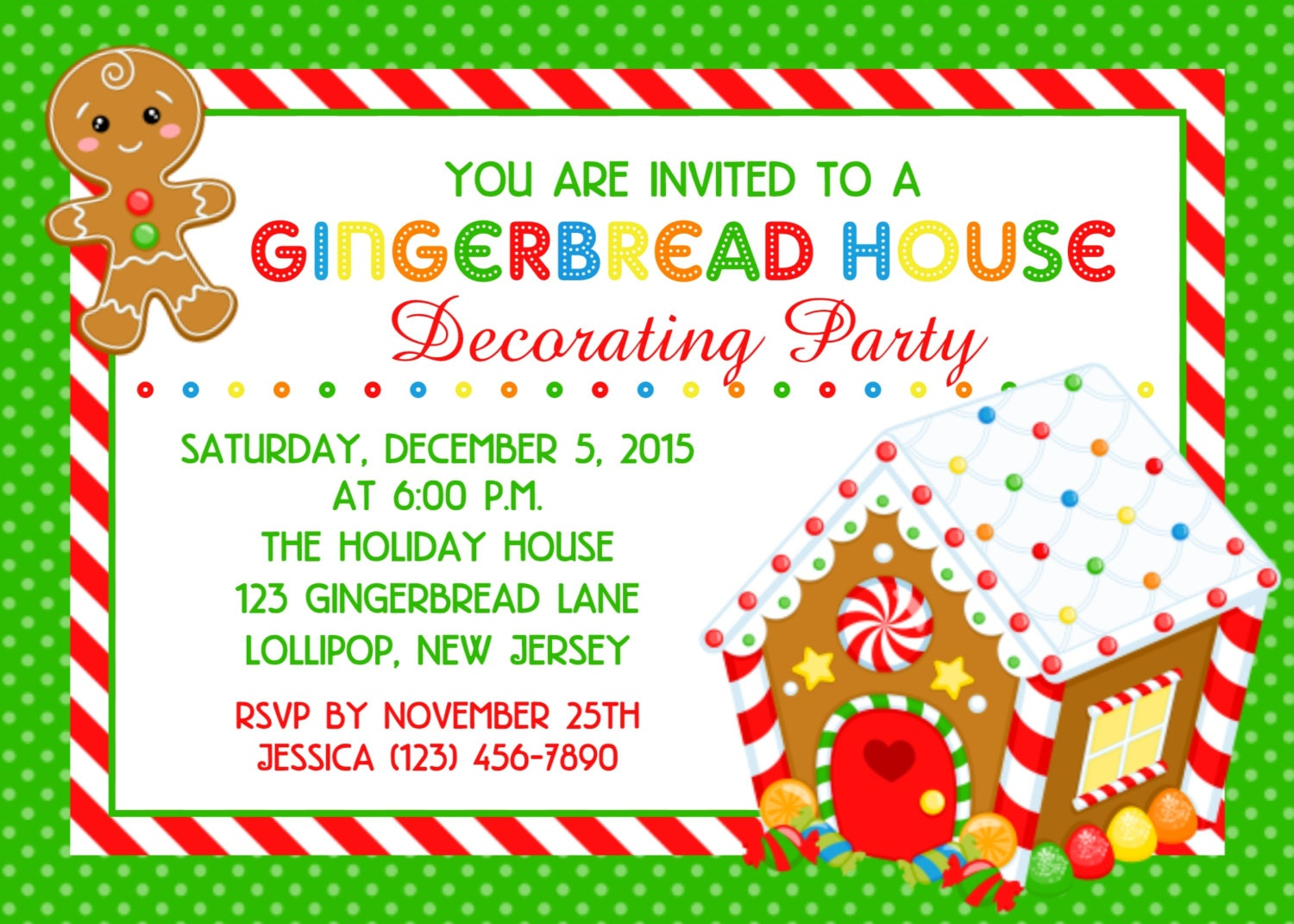 Gingerbread House Invitation Personalized Custom Christmas
