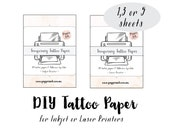 DIY temporary tattoo paper- make your own tattoos- print tattoo on your home laser or inkjet printer from your own illustration or any image