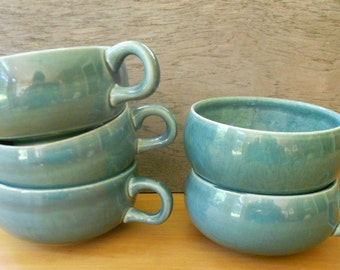 Russel Wright American Modern mid century modern seafoam cups set of 5 earthenware tea coffee cup vintage pottery by Steubenville