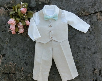 Ring bearer outfit baby. Baby wedding outfit. Baby boy linen suit. Baby boy linen baptism outfit.Baby wedding clothes.First birthday outfit.