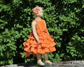 Orange flower girl dress.Fall flower girl ruffle dress.Toddler girls special occasion dress.Autumn flower girl dress.Formal dress.