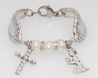 First Communion Satin Finish Spoon Bracelet Freshwater Pearls, Silver Plated Charms