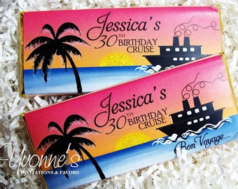 Cruise Ship-Bon Voyage-Nautical Candy Bar Wrappers - Chocolate Bar Favors - Daylight Version - Wedding, Milestone Birthday-Travel-Vacation