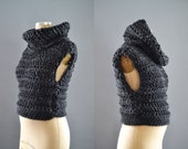 Cowl Knit Vest / Crochet Vest with Hood and Cowl / Thick Sweater vest for Women / Top with Cowl neck / Cropped sweater / gift for her
