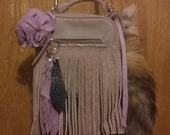 Leather Fringed Rose Crossbody Vintage Handbag includes Leather Fringed Feathers,dragonfly and Tree charms,fox tail totem key ring
