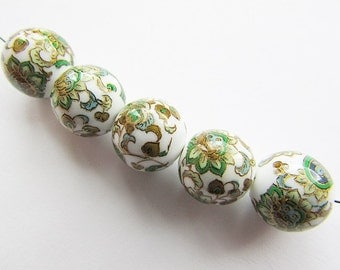 Japanese Tensha Beads 12 mm Lightweight Tensha Beads Floral Beads Flower Decal Beads Jewelry Supplies 2 pcs.