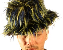 Black Faux Fur Fluffy Fedora Hat With Blue and Lime Spikes Monster Festival Rave New Years Accessory Christmas gift Halloween outfit idea