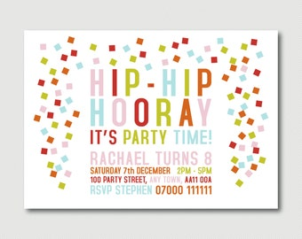 Printable Cute Colourful Hip-Hip Hooray its party time confetti sprinkles typography party invitation pyo diy print your own invitations