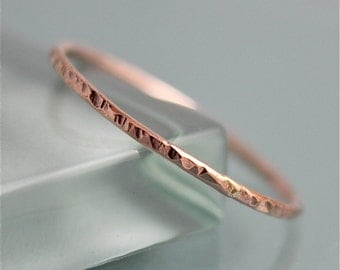Rose Gold Twig Ring Bark 14k SOLID Skinny Thin 1mm Stacking Band Hammered Spacer Rustic  Finish Eco-friendly Recycled Gold