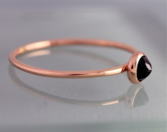 Black Spinel 14k Rose Gold Ring BIrthstone Solid Gold Thin Stacking Band Spacer Ring
