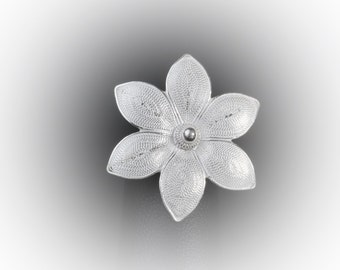 Brooch pendant Lotus silver embroidery