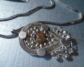 Vintage Necklace Dangles Fringed Indian boho Jewelry (New Old Stock)