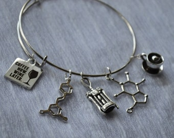 Biolojewelry -Coffee Now Wine Later Caffeine Resveratrol Molecule Bangle Bracelet