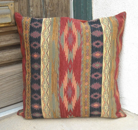 Southwestern pillow cover. 18 x 18 to 24 x 24. Soft rich and