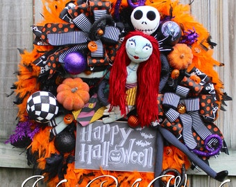 Nightmare Before Christmas Halloween Wreath, Pumpkin Lights, Sally and Jack Skellington