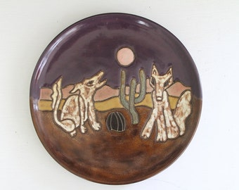 Stoneware Plate Mara Mexico Coyote Desert Moon Cactus Purple Gold Display