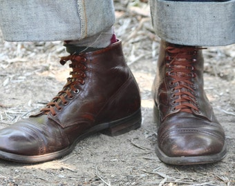 Rich brown 1940s Lace up cap toe work boots with original laces 1920s work boot styling