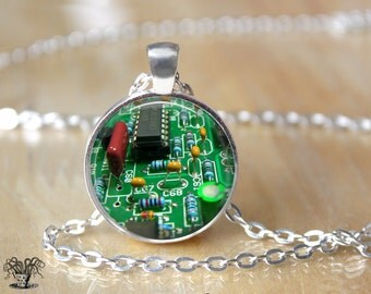 Motherboard Necklace - Circuit Board Necklace - Geek Necklace - Computer Necklace - Geekery - Computer Chip  L98