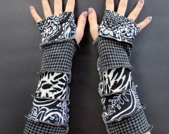 Festival Gloves - Recycled Clothing - Cotton Arm Warmers - Vegan Clothing - Fingerless Gloves - Arm Gloves - Hippie Gloves - Gypsy Clothing