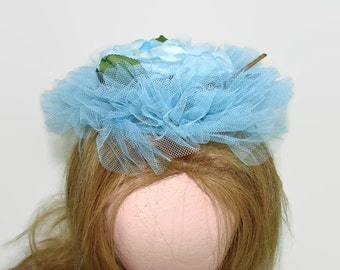 Blue Floral Hat Crinoline Netting and Silk Rose Hat, Wedding Hat, Flat Ruffled Cap