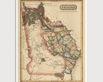 Old Georgia Map Art Print 1817 Antique Map Archival Reproduction