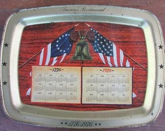 Metal Vintage Tray Bicentennial 1776 1976 Fourth of July