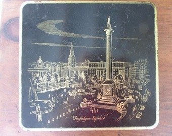 Trafalger Square Vintage Cookie Tin Black and Gold