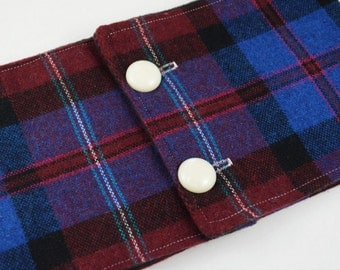 Wool Dark Purple/Blue Plaid Fleece Lined Buttoned Cowl