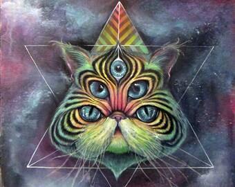 Intergalactic Feline - space cat art, giclee, fine art print, art by phresha, spirit animal, big eyes art, trippy art, tripy cat art