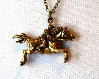 Jumping Horse Necklace - Gold 3D Eventer, Show Jumper, Foxhunter, Equestrian Jewelry
