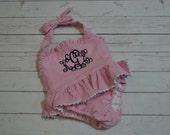 Girls Monogrammed PINK SEERSUCKER One -Piece Seersucker Swim Suit - Monogram