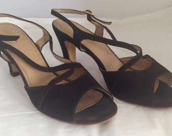 1960s does 30s chocolate brown suede sandals - AU 6 / EU 36
