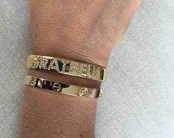 Sale ! Grateful bangle / passion bangle cuff bracelet pave cz bangles 1 week to ship (choose 1)