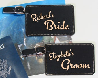 Bride & Groom Luggage Tags - Set of 2 - Personalized Luggage Tag Set - Bridal Gift - Wedding Shower Gift - Bride and Groom Gift - Wedding