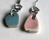 light blue and dust pink beach pottery earrings bohemian jewelry statement jewellery sea china mermaid tears