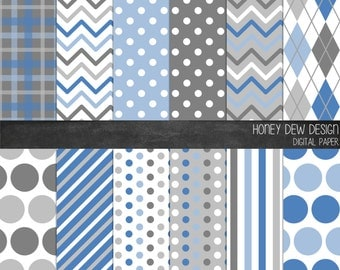 Patterned Digital Paper - Denim and Grey - Instant Download