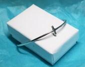 Silver Cross Cuff Bracelet - Sterling silver Sideways Cross Bracelet - Open Bangle Bracelet - cross bracelet - cuff bracelet holiday gifts
