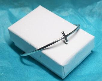 Silver Cross Cuff Bracelet - Sterling silver Sideways Cross Bracelet - Open Bangle Bracelet - cross bracelet - cuff bracelet gifts