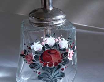 Vintage oil bottle, hand painted bottle, soap dispenser, floral bottle, vintage dispenser