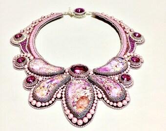 Swarovski Necklace - Lavender Sea Sediment Collar - Bead Embroidered Necklace - Beaded Art Jewelry - Avant Garde Necklace - Statement Collar